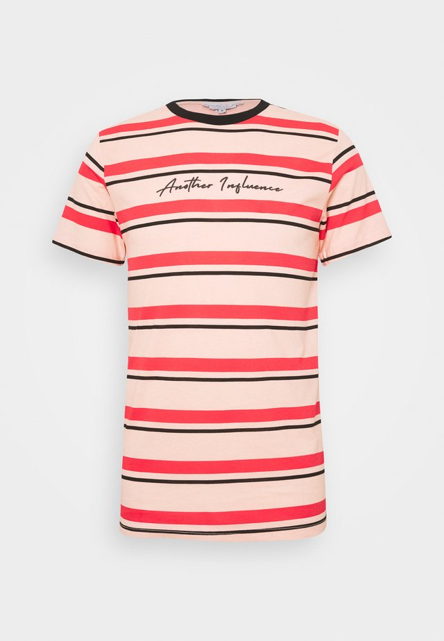 SIGNATURE STRIPE - T-shirts print - pink/red/black