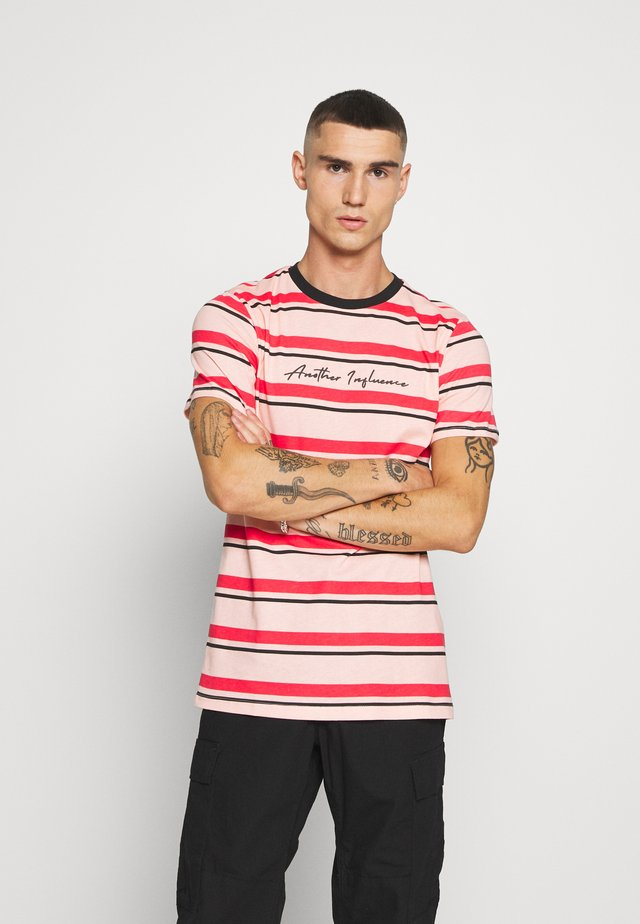 SIGNATURE STRIPE - T-shirt imprimé - pink/red/black
