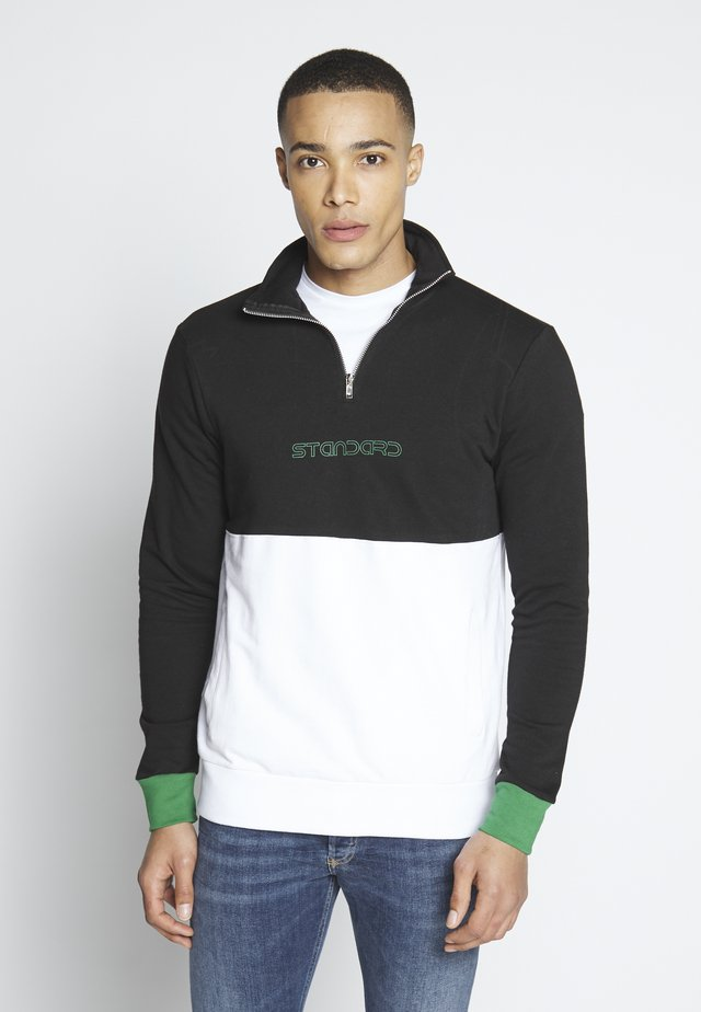 HALF ZIP SWEAT - Sweatshirt - black/white