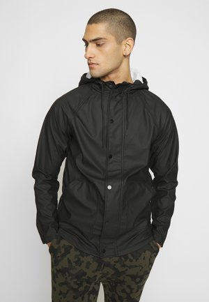 RAIN JACKET WITH BORG LINES HOOD - Impermeabile - black