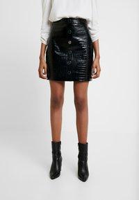 AllSaints - BELA SKIRT - Pencil skirt - croc black - 0