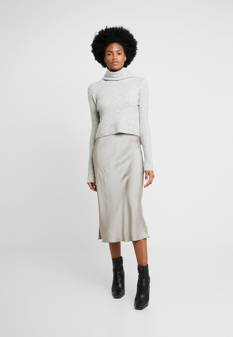 AllSaints - TIERNY ROLL NECK DRESS 2-IN-1 - Jersey de punto - mottled dark grey/stone
