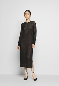 AllSaints - SHINE DRESS - Strikket kjole - black/caramel - 1