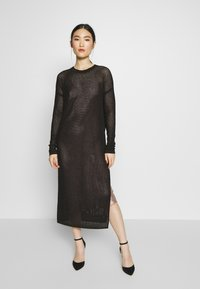 AllSaints - SHINE DRESS - Strikket kjole - black/caramel - 0