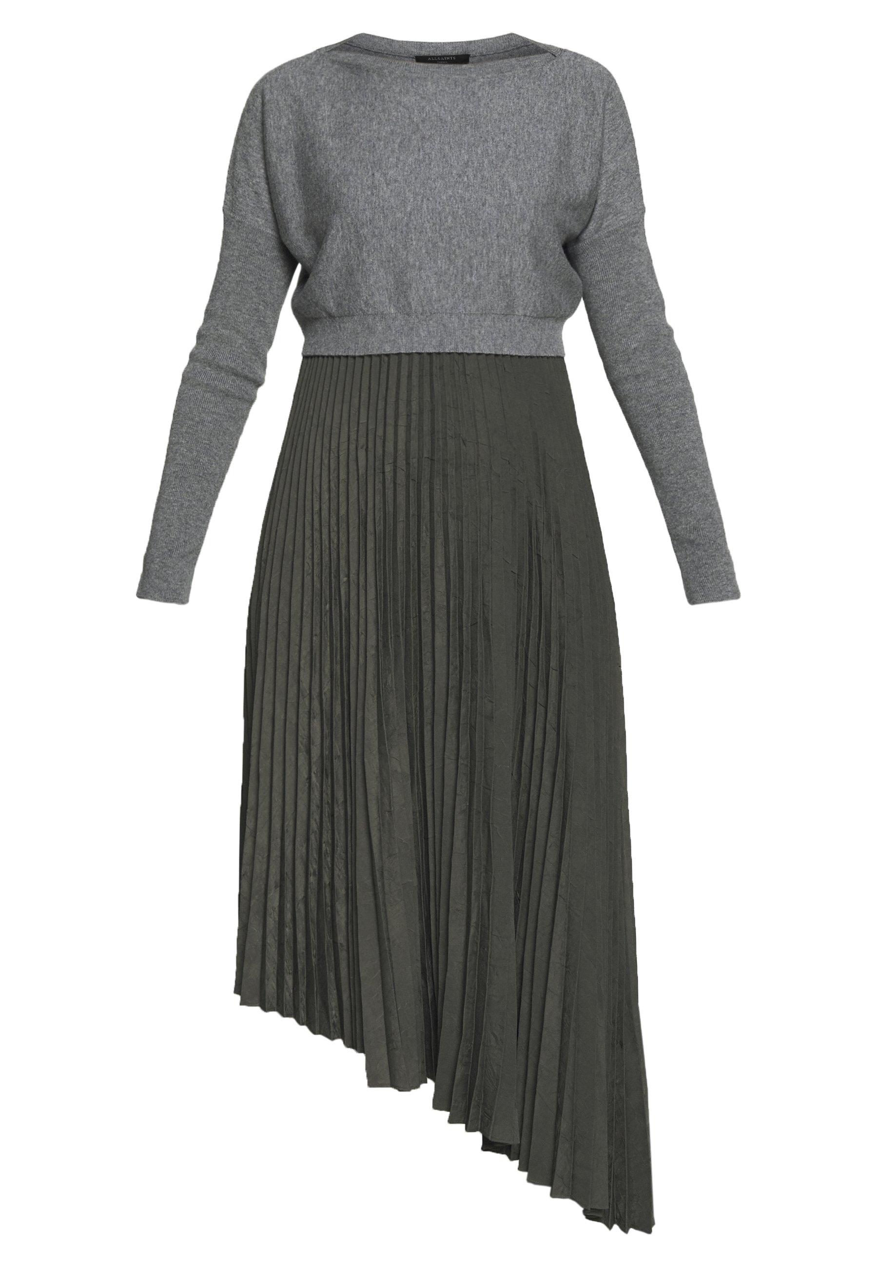 AllSaints EVETTA DRESS 2 IN 1 - Sweter - khaki/grey
