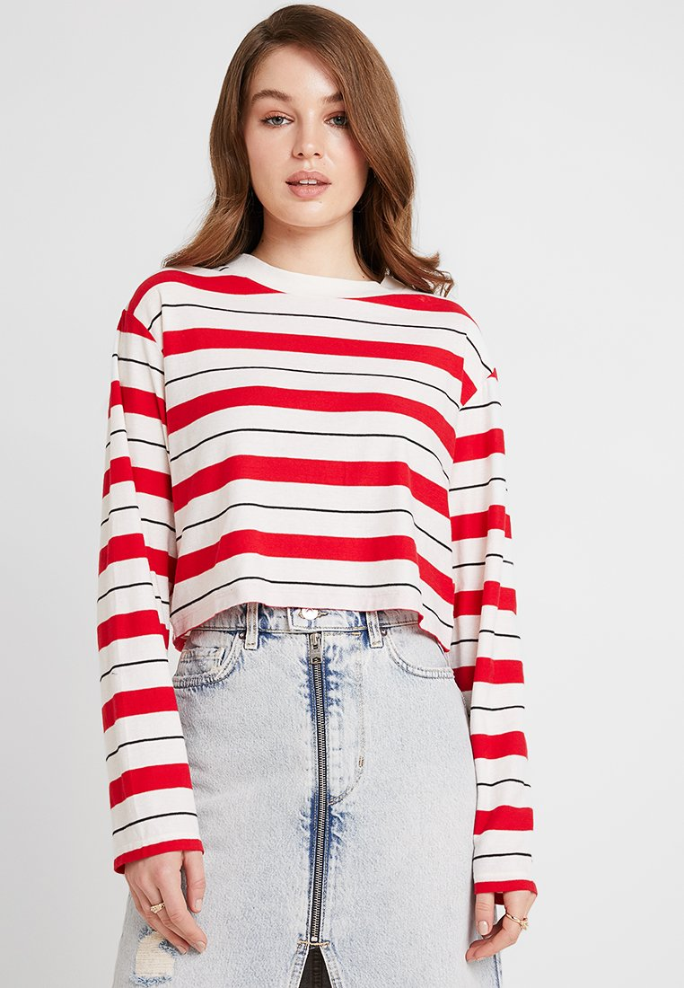 AllSaints - BENNO STRIPE TEE - Long sleeved top - red/chalk/black