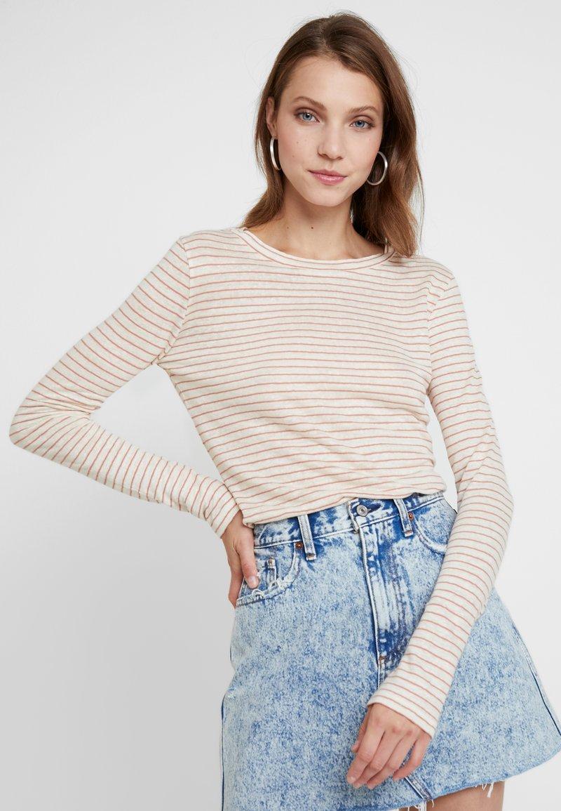 AllSaints - ESME STRIPE - Long sleeved top - ecru white/orange