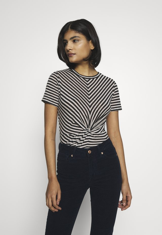 JESS STRIPE TEE - T-shirt print - black/ecru