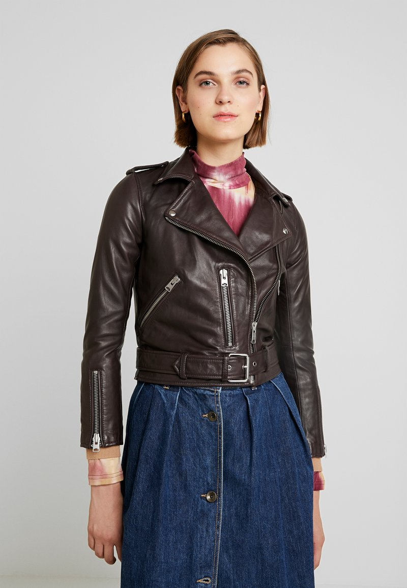 AllSaints - BALFERN BIKER - Leather jacket - deep berry red