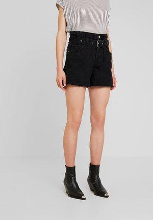 HANNAH PAPER BAG - Shorts di jeans - black