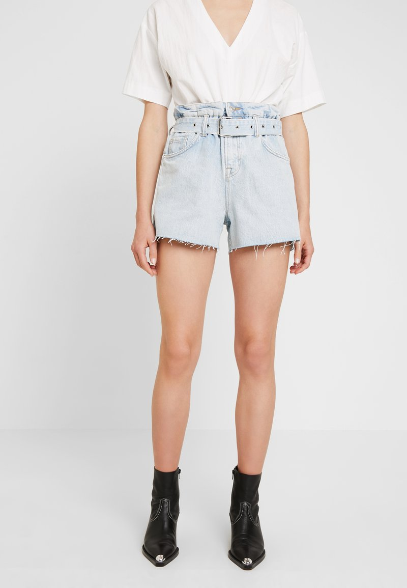 AllSaints - HANNAH PAPER BAG - Denim shorts - light-blue denim