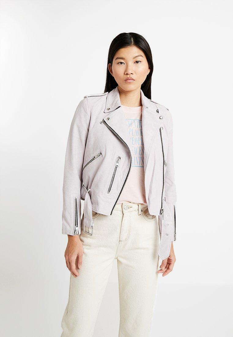 AllSaints - BIKER - Leather jacket - pale lavender