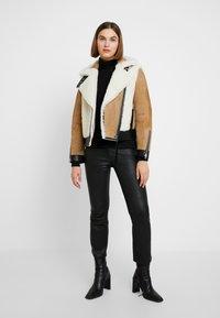 AllSaints - ELIA SHEARLING - Leather jacket - toffee/chalk white - 1