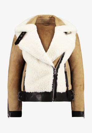 ELIA SHEARLING - Giacca di pelle - toffee/chalk white