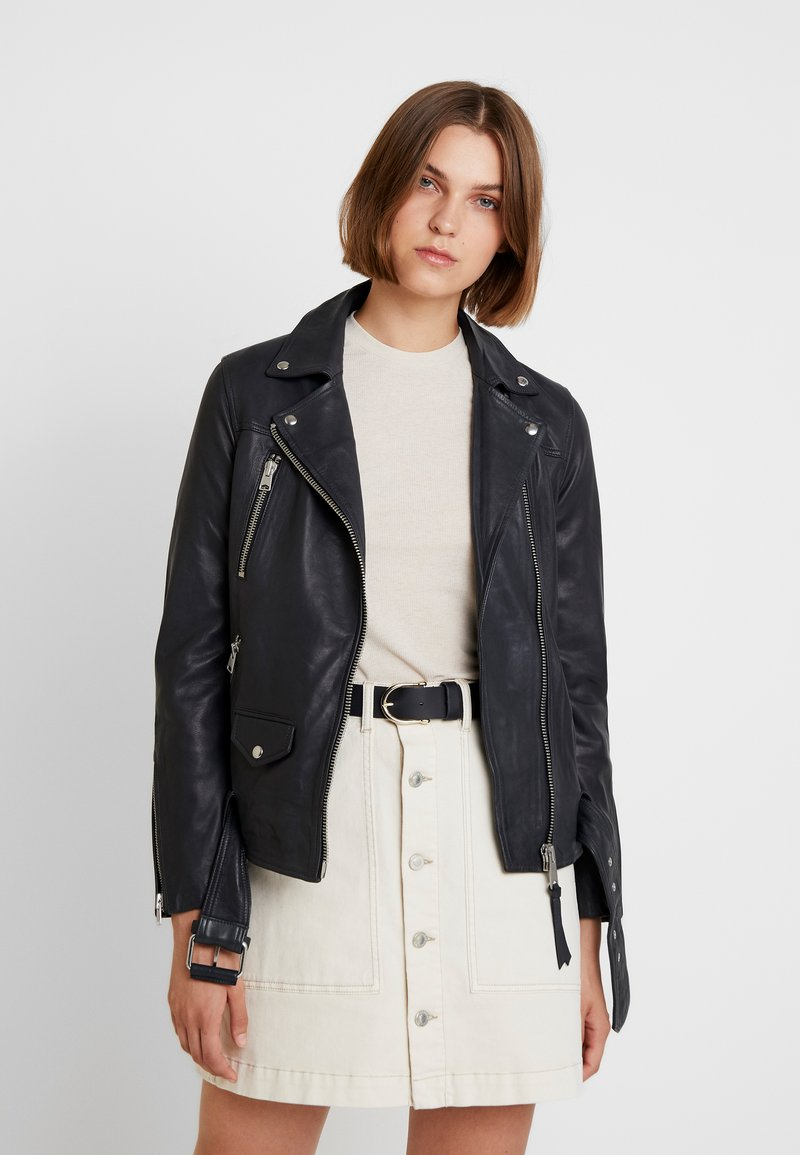 AllSaints - ELINE OVERSIZED BIKER - Leather jacket - black