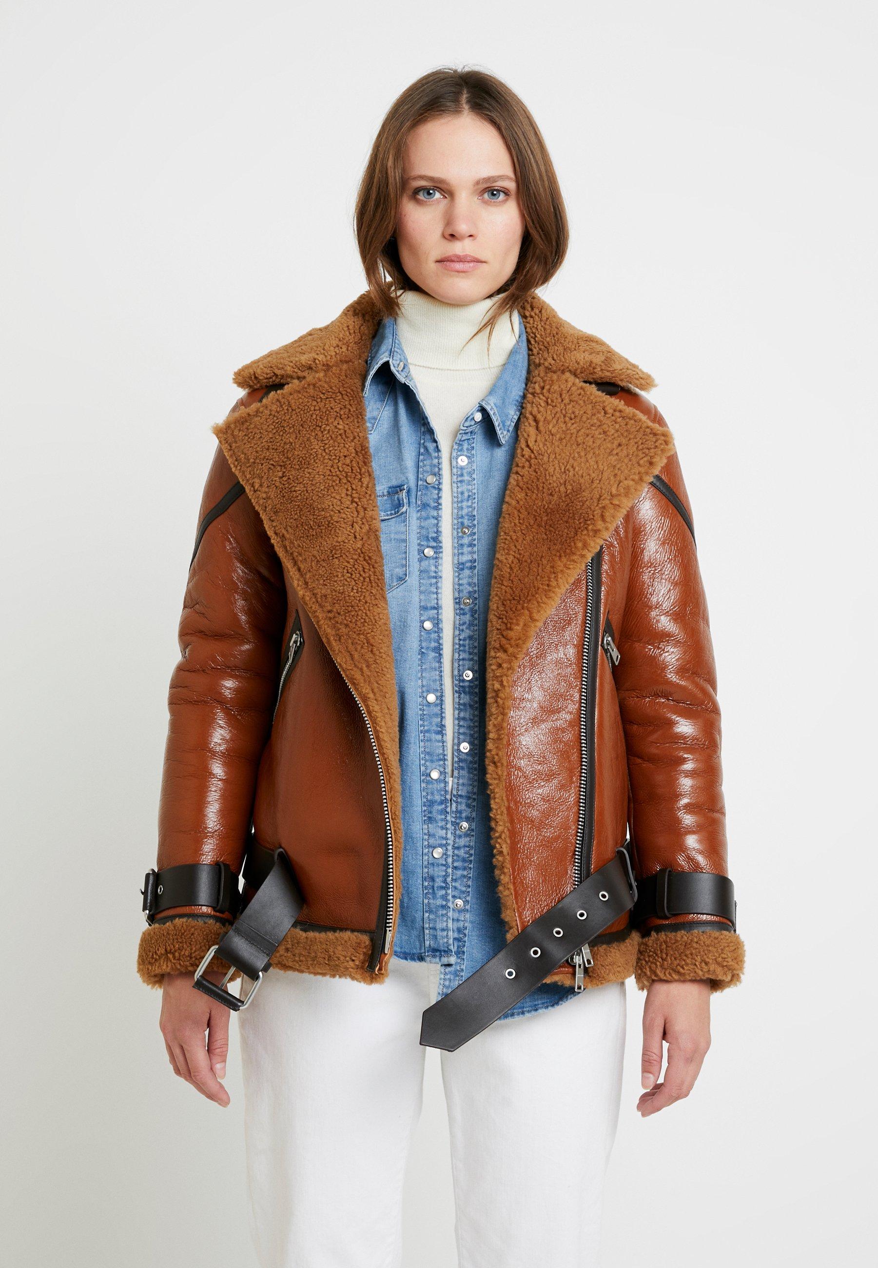 AllSaints HAWLEY SHEARLING - Skinnjakke - rust brown