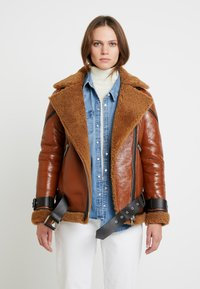 AllSaints - HAWLEY SHEARLING - Leather jacket - rust brown - 0