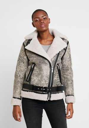 REI SHEARLING - Leather jacket - aries white/black