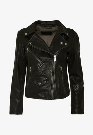 RILEY BIKER - Veste en cuir - black/grey