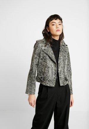 BALFERN RIFT BIKER - Leather jacket - black/white