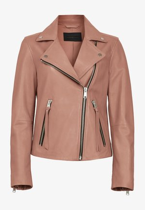 DALBY BIKER - Leather jacket - pink