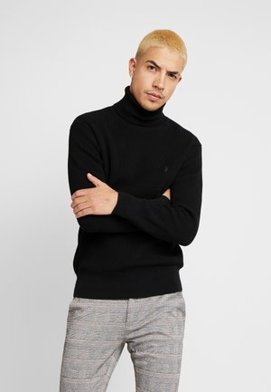 WELLS ROLL NECK - Stickad tröja - black