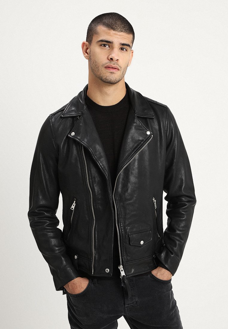 AllSaints - BRETT BIKER - Leather jacket - black