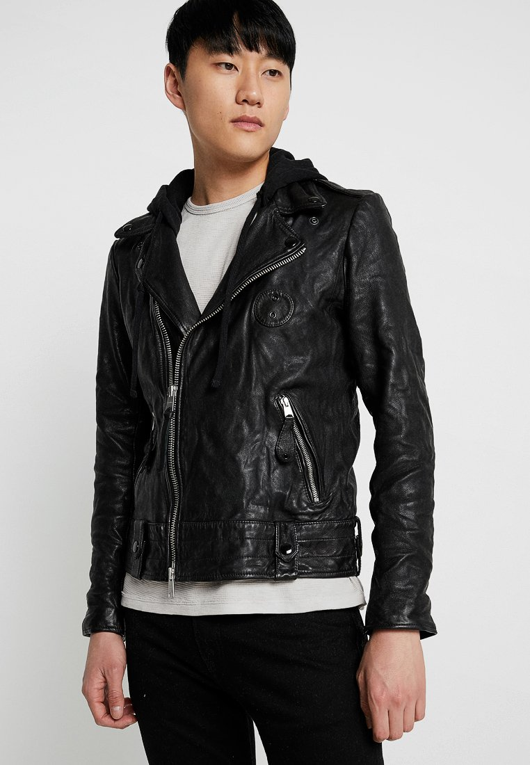 AllSaints - WOODLEY BIKER - Leather jacket - black