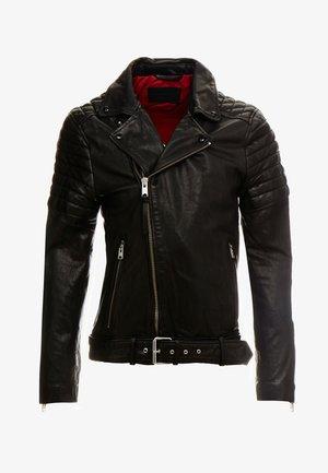 BOLT BIKER - Leather jacket - black