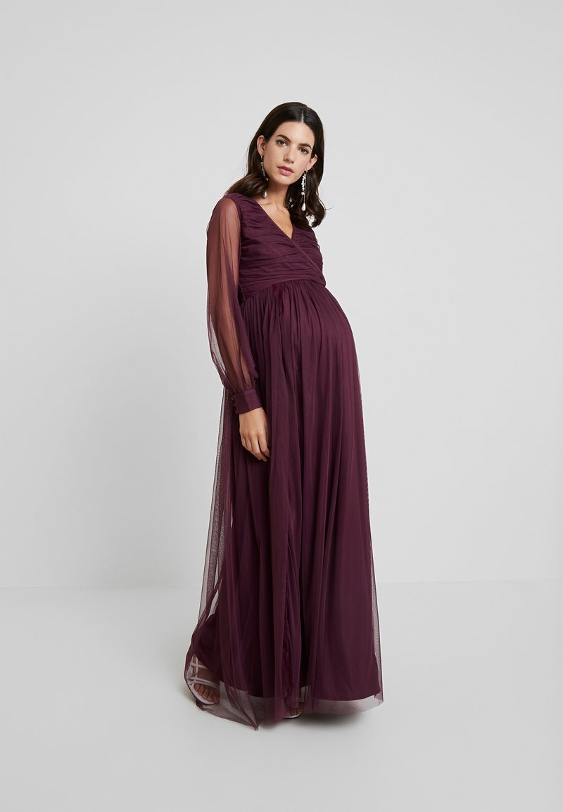 Anaya with love Maternity - LACE BARDOT WITH LONG SLEEVES - Vestido de fiesta - burgundy