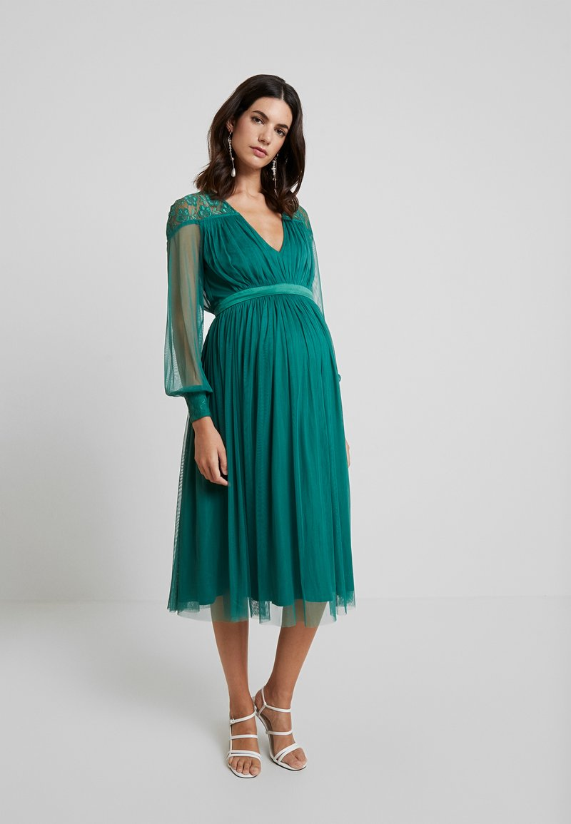 Anaya with love Maternity - LACE YOKE WITH LONG SLEEVES - Cocktail dress / Party dress - emerald green
