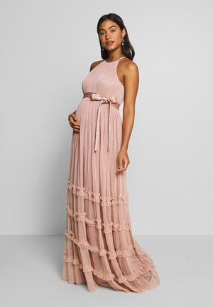 HALTER NECK MAXI DRESS WITH RUFFLE DETAIL SKIRT - Occasion wear - pearl blush