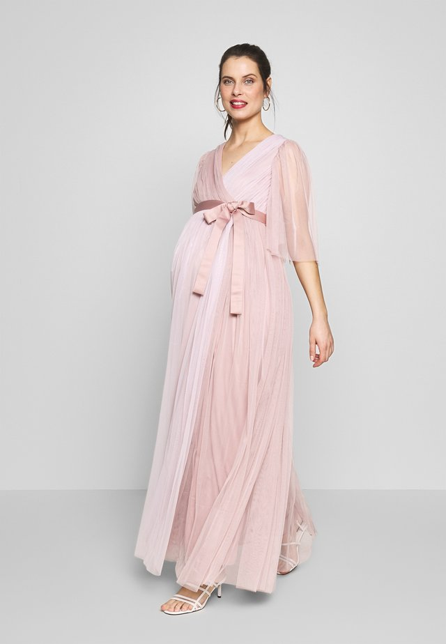 WRAP CONTRAST MAXI WITH FLUTTER SLEEVES - Korte jurk - orchid ice/frosted pink