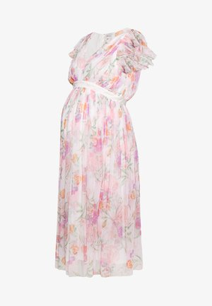 DEEP MIDI DRESS WITH WAISTBAND - Sukienka letnia - WHITE WATER COLOUR