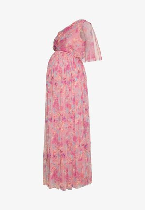 ONE SHOULDER DRESS WITH FLUTTER SLEEVE - Vestido informal - pink