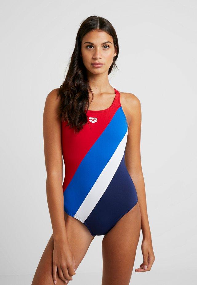 DIAGONAL STRIPE SWIM PRO ONE PIECE - Swimsuit - navy/red/royal