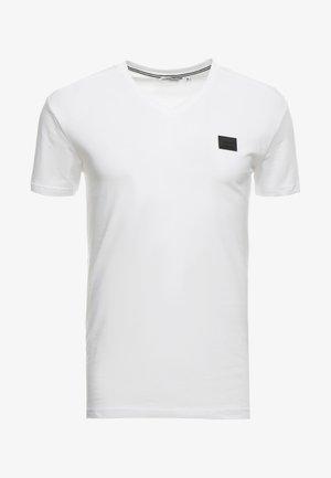 SPORT V-NECK WITH METAL PLAQUETTE - Jednoduché triko - bianco