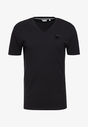 SPORT V-NECK WITH METAL PLAQUETTE - Basic T-shirt - blu notte