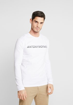 ROUND NECK WITH LOGO PRINT - Long sleeved top - white