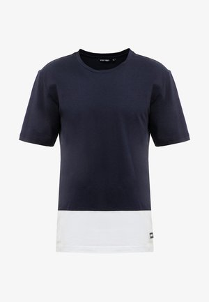 ROUND NECK COLLAR WITH CONTRAST COLOUR ON BOTTOM BODY - T-shirts print - ink blue