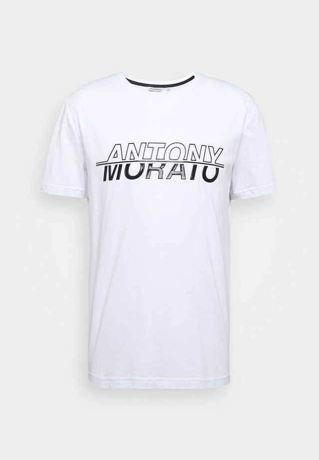 ROUND COLLAR WITH LOGO PRINT ON FRONT - Print T-shirt - white