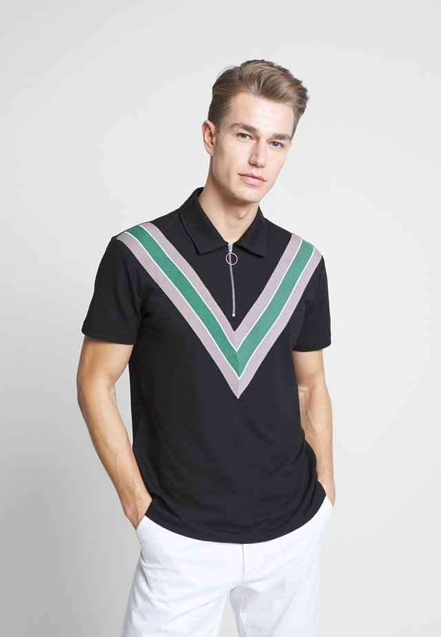 WITH TAPE ON FRONT - Polo shirt - black