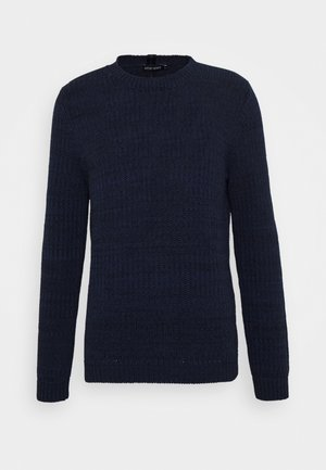 ROUND COLLAR MELANGE WITH BACK COLLAR TAPE - Strikpullover /Striktrøjer - bluette