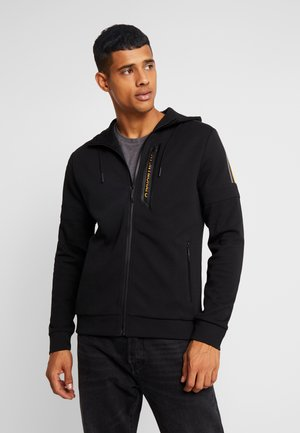 WITH HOOD AND LOGO ZIP - Hettejakke - black