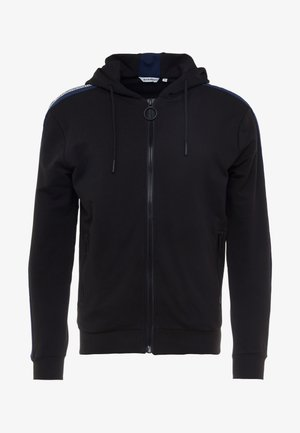 HOOD WITH CONTRAST COLOUR AND LOGO TAPE ON SHOULDER - Bluza rozpinana - black