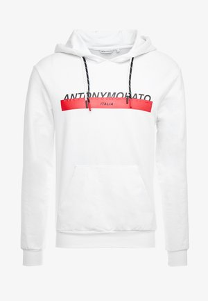 HOOD DOUBLE COULISSE AND FRONT LOGO PRINT - Luvtröja - white