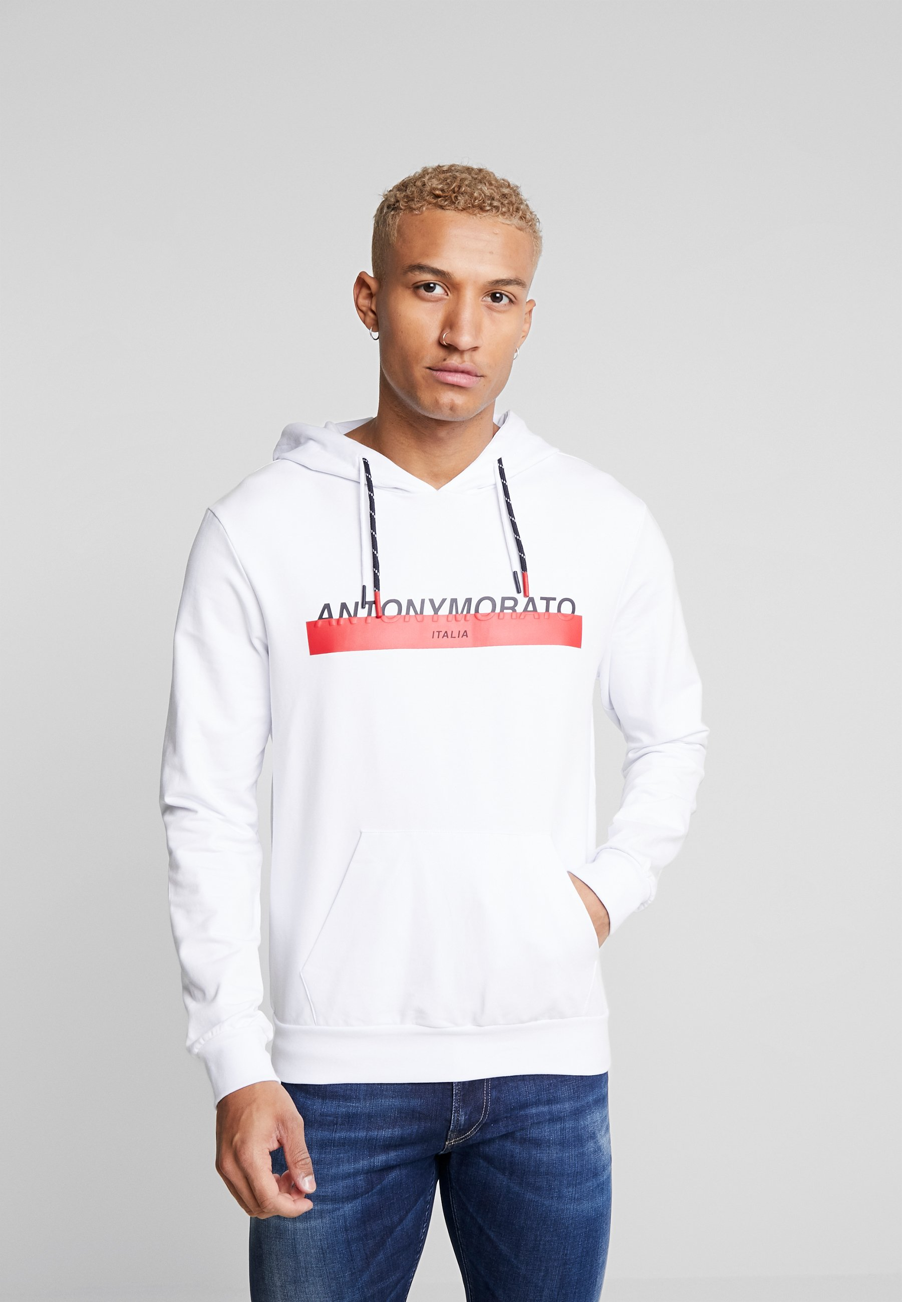 Antony Morato HOOD DOUBLE COULISSE AND FRONT LOGO PRINT - Bluza z kapturem - white