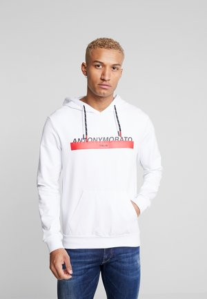 HOOD DOUBLE COULISSE AND FRONT LOGO PRINT - Jersey con capucha - white