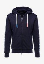 ZIP HOOD AND LOGO TAPE ON SLEEVES - Zip-up hoodie - ink blue