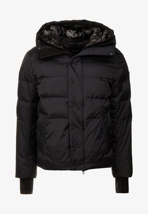 COAT WITH DETACHABLE HOOD AND PATCH ON SLEEVE - Chaqueta de invierno - black